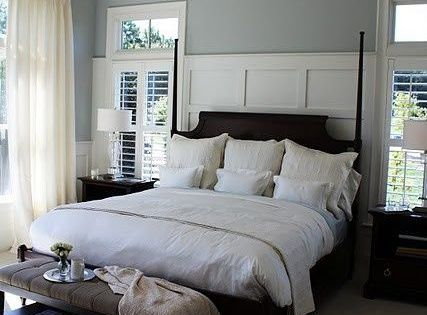 Cream Master Bedroom | Master bedroom paint colors. Blue for wall, tan/cream