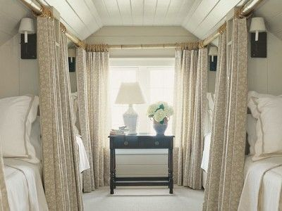 bonus room turned guest room. Love the 'sleeper train car' effect of