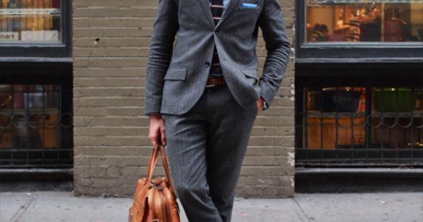 My Focus here: How to dress....light brown shoes with charcoal suit. New