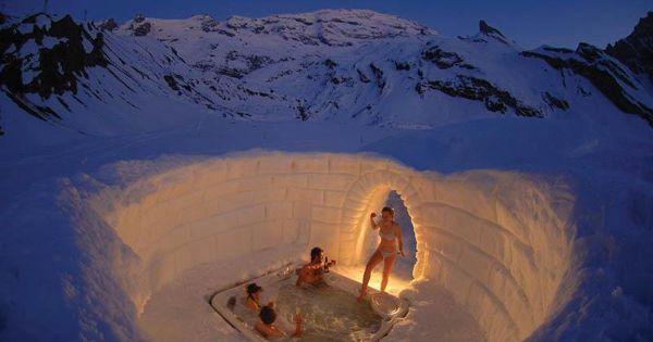 Igloo Hot Tub, Switzerland water jacuzzi travel places bucket list