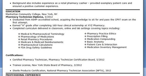 pharmacy technician resume sample no experience pics
