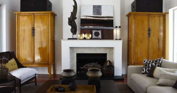 Love The Tall Cabinets Flanking The Fireplace Modern