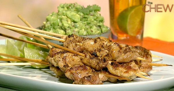 Michael Symon's Lime and Jalapeno Chicken Skewers with Guacamole Recipe thechew