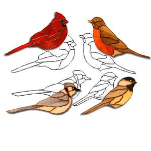 4 Birds Obsession Pattern Stained Glass Birds Stained Glass