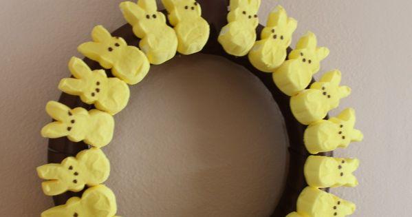 Peep Wreath. Cute Easter Idea.