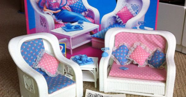 Barbie Bedroom In A Box: Vintage 1983 Barbie Dream Furniture Wicker Living Room Set