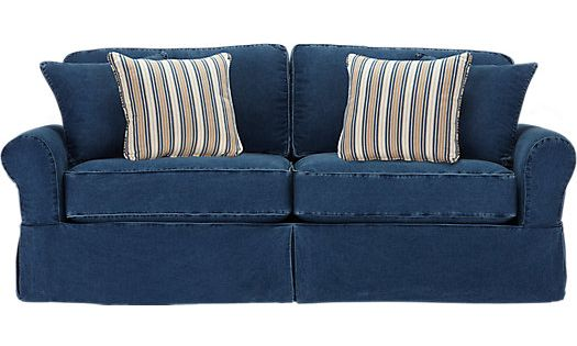 shop for a cindy crawford home beachside blue denim sofa at rooms