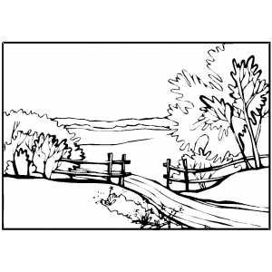 Country Path Printable Coloring Page Free To Download And Print Landscape Pencil Drawings Colorful Landscape Coloring Pages