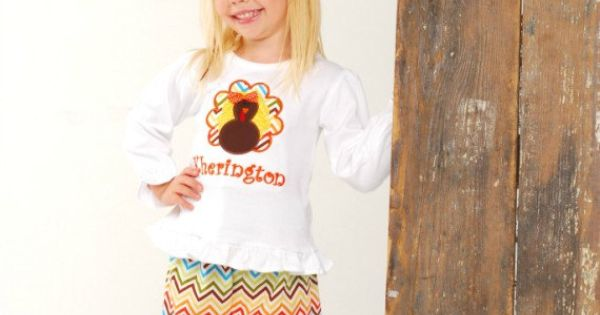 Girls Chevron Turkey Shirt and Pants Set-Monogrammed Applique Turkey Shirt and Pants-Personalized Thanksgiving Outift. $40.00, via Etsy. | See more about Pants, Shirts and Appliques.