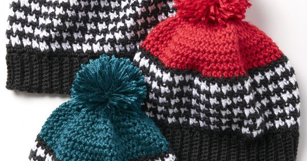 Houndstooth Bright Hat - Free Crochet Pattern - Adult And ...