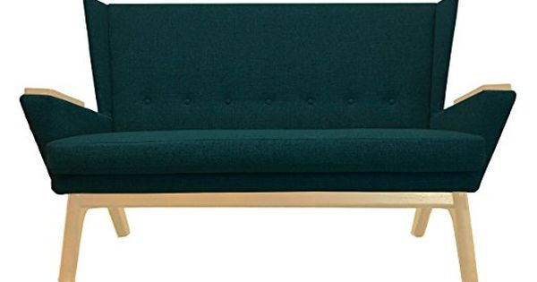 Teal Green Upholstered Mid Century Modern 60 Inch Love Seat Sofa Couch Bench Seat Loveseat Contemporary Retro Lewis Interiors Love Seat Clean Couch Sofa Couch