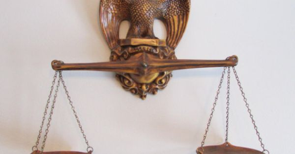 Vintage Ceramic Balance Scale Of Justice Eagle Top Wall