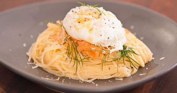 pasta with poached egg and smoked salmon...maybe add some steamed