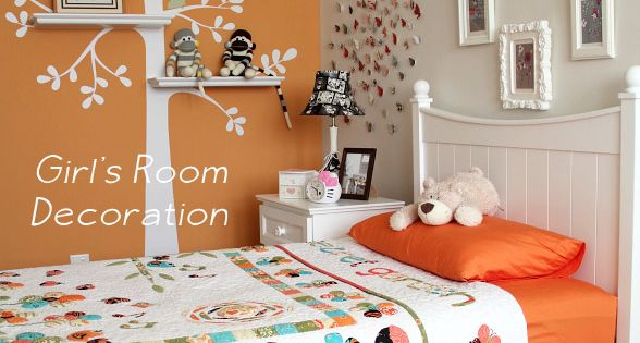 Girl s bedroom decoration ideas home decor tree decals shelves and butterfly