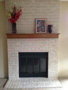 User Submitted Photo Brick Fireplace Makeover Fireplace Makeover Painted Brick Fireplace