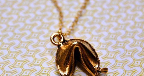 fortune cookie necklace. so cute! necklace jewelry