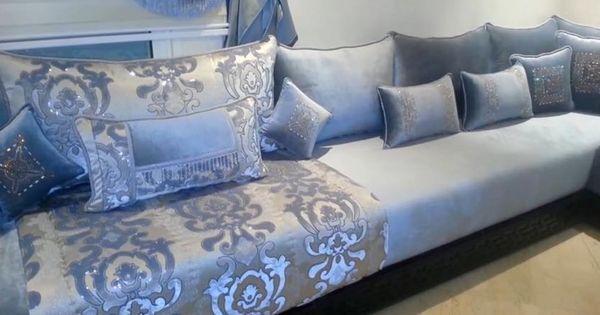 salon marocain bleu ciel gris amenda decor salonmarocain pinterest salons marocains. Black Bedroom Furniture Sets. Home Design Ideas