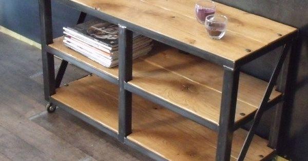 meuble de rangement sur roulette bois et m tal style industriel meuble de rangement roulette. Black Bedroom Furniture Sets. Home Design Ideas