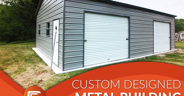 This 22w X 31l X 10h Vertical Roof Style Two Car Enclosed Metal Garage Building Includes 2 9x8 Roll Up Do Metal Buildings Metal Farm Buildings Farm Buildings