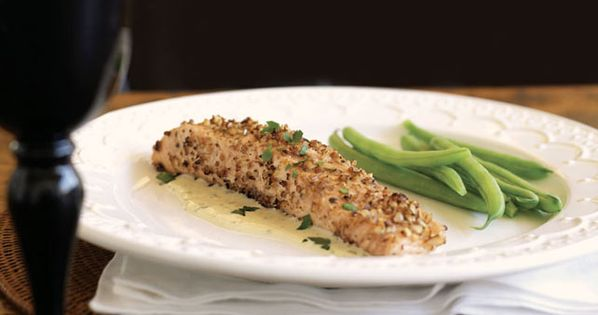 Toasted pecans make a crispy coating for baked salmon in for Crispy baked whiting fish recipes