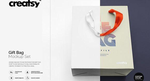 Download Gift Bag Mockup Set Bag Mockup Mockup Design Business Card Logo