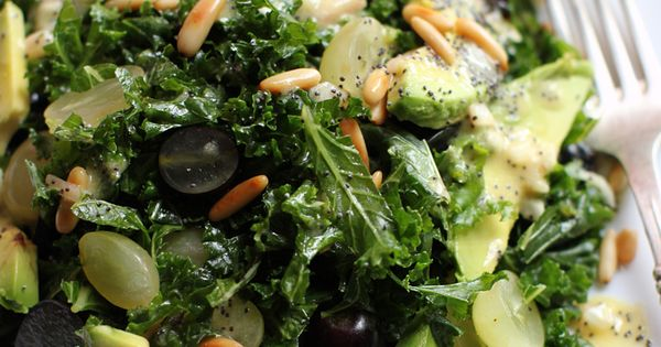 Massaged kale, grapes, pine nuts and avocado salad with poppy seed dressing.