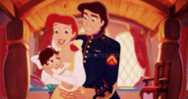 Princess Ariel holding her daughter melody in her arms ...