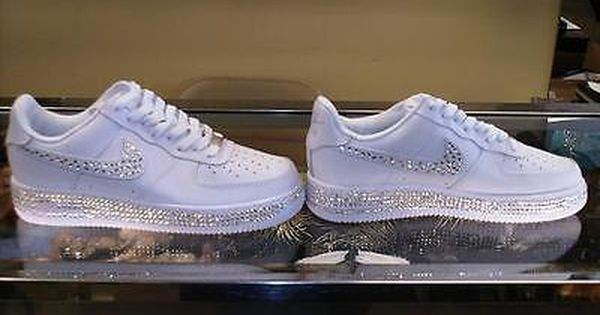 Air Force Mid White One Custom Nike 1 Swarovski Crystal wPkOXZiuT