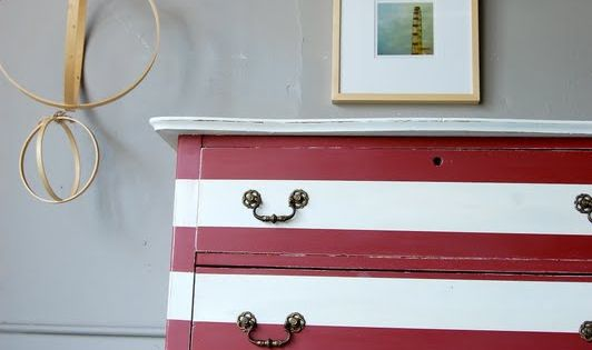red & white striped dresser. fun for a nautical theme. Would look
