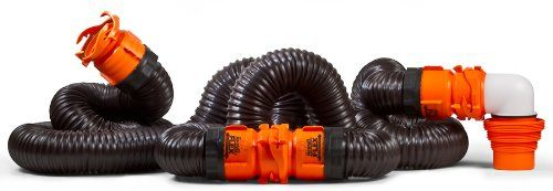 Camco 20ft Revolution Swivel RV Sewer Hose Kit Includes Swivel Fittings and 4-in1 Elbow Adapter Frustration-Free Packaging