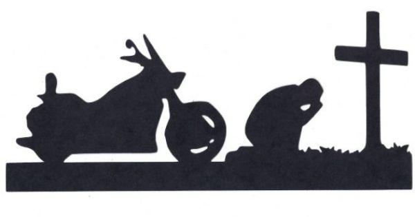 Biker At Cross Praying Silhouette Die Cut By