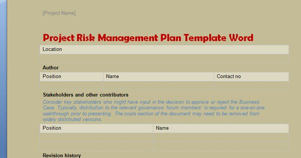 Project Risk Management Plan Template Word Projectemplates Excel