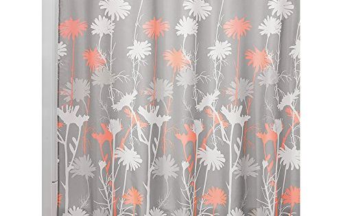 Interdesign Daizy Shower Curtain 72 By 72 Inch Gray And Coral Interdesign
