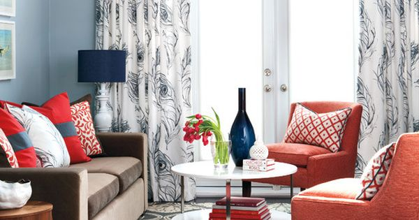 Style at home navy coral living room decoraci n for Decoracion hogar living