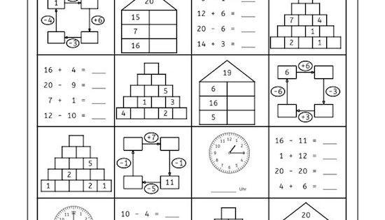 vier tage mathe training zahlenraum bis 20 arbeitsbl tter mathe f rderschule und rechnen. Black Bedroom Furniture Sets. Home Design Ideas