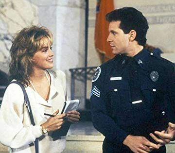 Sharon Stone And Steve Guttenberg In Police Academy 4 Citizens On Patrol 1987 Police Academy Police Academy Movie Steve Guttenberg