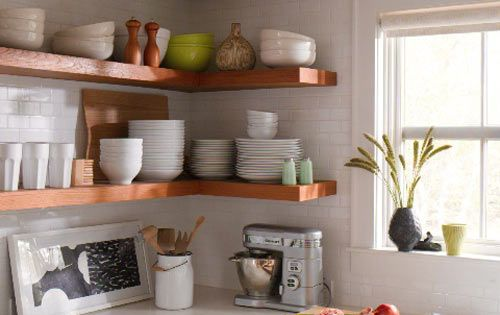 white kitchen open shelves subway tile