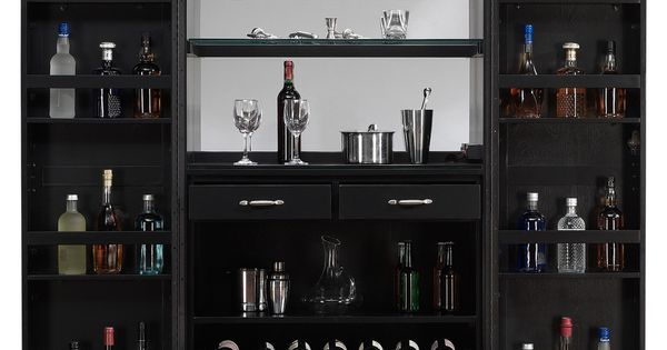 American Ashley Heights Black Stain Home Bar Wine Cabinet Ashley Heights Home Bar Wine Cabinet