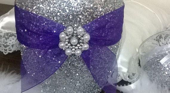 Silver glitter vase with purple ribbon wedding
