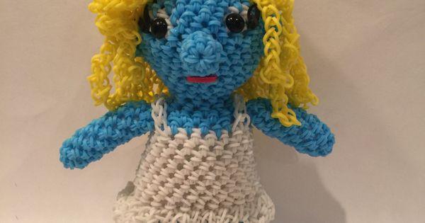 Amigurumi Monster Crochet Patterns : Smurfette Rubber Band Figure, Rainbow Loom Loomigurumi by ...