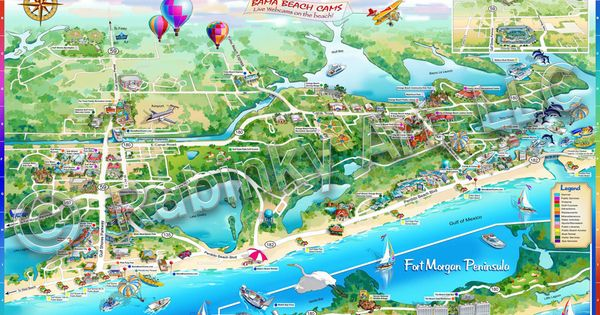 illustrated maps alabama beach guide illustrated map places i