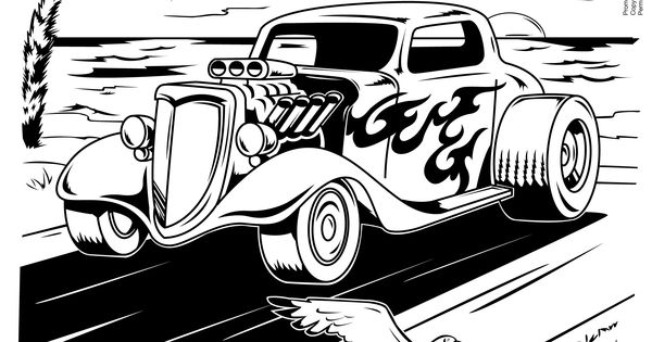 Hot Rod Coloring Page Free Printable