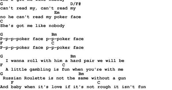 Pokerface ukulele chords