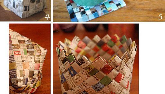 Avec vieux journaux plumetis2 panier pinterest - Bricolage en papier journal ...