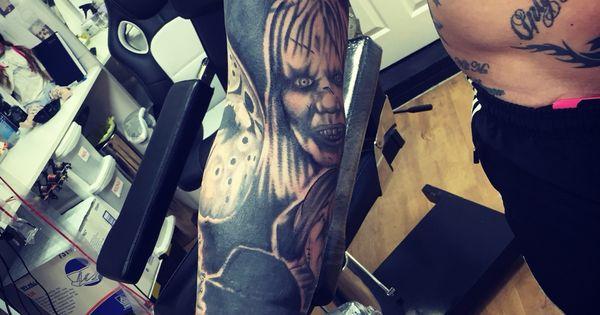 Horror Tattoo Sleeve Freddy Jason Chucky Jigsaw Lost Boys Exorcist And More Levink Tattoos