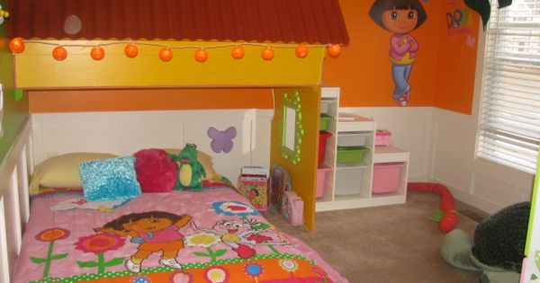 Dora bedroom with loft play space marijo pinterest for Dora themed bedroom designs