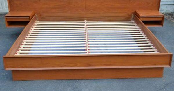Platform Beds With Floating Nightstands Teak King Size Floating Platform Bed With Attached Night Sta Floating Platform Bed Platform Bed King Platform Bed