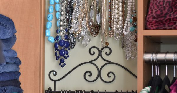 I like the statement jewelry organizing idea. -Organizing Jewelry - towel rack