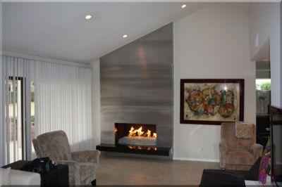 Floor To Ceiling Brushed Aluminum Custom Fireplace Surround
