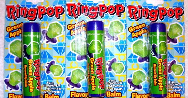 Ring Pop Candy Green Apple Flavored Lip Balm Gloss 3 Tubes
